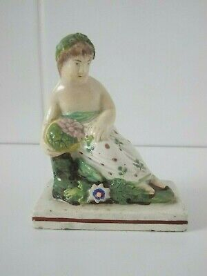Antique Early Pearlware Figure Figurine - God With Fruit / Flowers Basket (A) • 12£