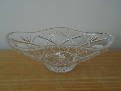 Very Heavy Large Oval Crystal Bowl • 5£