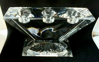 Made In Italy Cobra Crystal Glass Candlestick Triple Candle Holder With Label • 14.99£