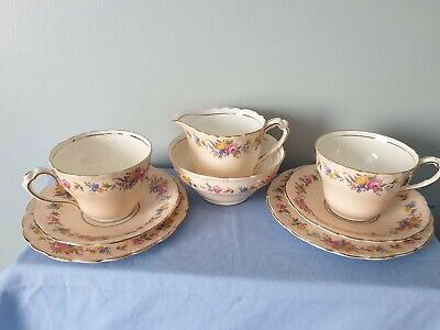 Paragon 1930s Blush Pink Roses Pattern Royal Appointment Tea Set For 2 • 19.95£