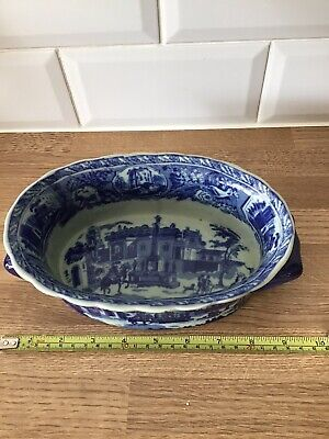 Victoria Ware Ironstone Blue And White Flow Handled Dish ~ Castles Country Scene • 23.50£