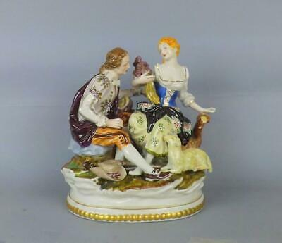 Antique Large Porcelain German Figurine Of Young Couple By Dresden Factory • 7£