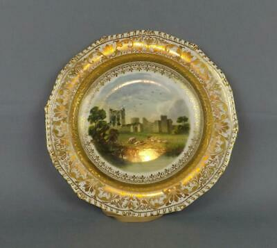 Antique Royal Crown Derby Porcelain Plat With Castle View. Circa 19 Century. • 37£