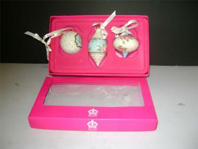 Pretty Boxed Set Of 3 Christmas Tree Decorations By Royal Albert. • 20£