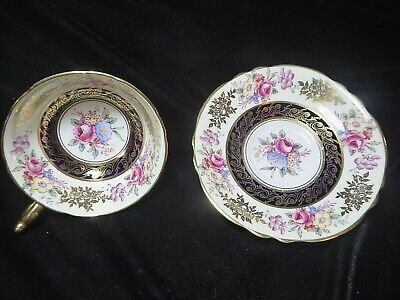 Unmarked Bone China England Cabinet Cup And Saucer Chintz Gold. Paragon ? • 28£