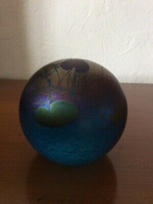 Ditchfield Glassform Signed Blue Heart And Lily Pad Lustre Paperweight  • 52£