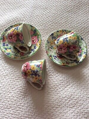 Midwinter Chintz Brama 2 Coffee Cups And Saucers + Extra Cup  • 8£