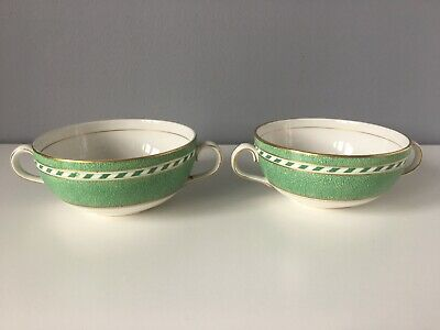 2 X Booths China Green & White Soup Bowls - A8062 • 8£
