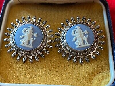 WEDGWOOD White On Pale Blue Jasperware Earrings Hallmarked Silver Mount BOXED • 3.49£