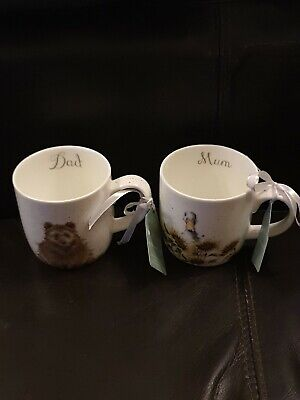 Royal Worcester Wrendale Designs By Hannah Dale Mum And Dad Mugs • 9.40£