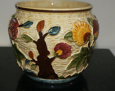 H J Wood Pottery Indian Tree Design Hand-painted Planter • 18£