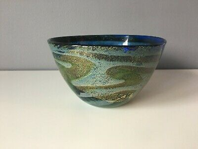 Mtarfa Blue Glass Bowl With Original Paper Label • 26£