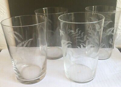 Vintage 1960s Fine Glass Tumblers With Etched Design 2 Each Of Similar Patterns • 18£