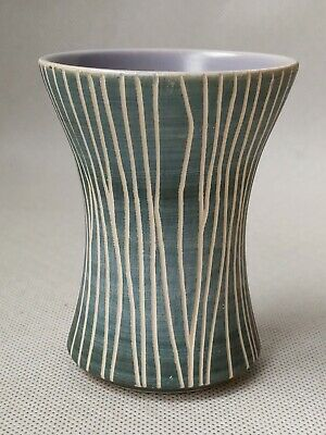Wimborne Pottery Vase Blue With White Vertical Design And Lilac Interior • 9.99£