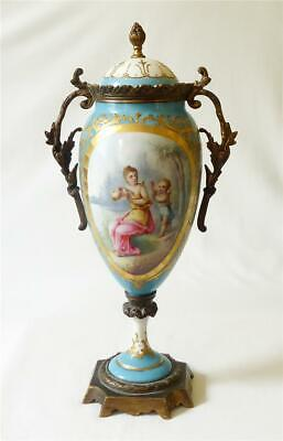 ANTIQUE GOOD SIZED MID 19TH C FRENCH SEVRES ORMOLU MOUNTED PORCELAIN VASE 30cms • 25£