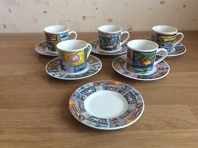 Set Of 5 Brightly Decorated Espresso Coffee Cups And Saucers • 10.50£