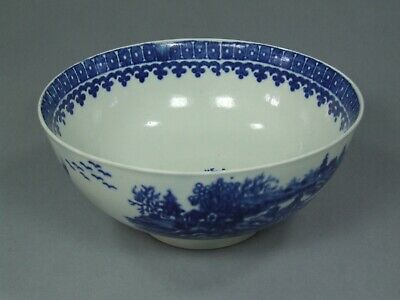 Mint & Fine First Period Worcester Fisherman & Cormorant Blue & White Bowl Look! • 165£