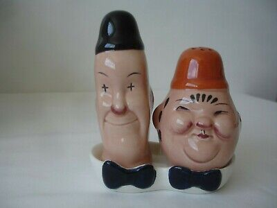 Vintage Collectable Laurel & Hardy Beswick Salt & Pepper With Tray & Stoppers • 30£