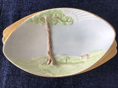 Vintage, Rare, Art Deco Hand Painted Crown Ducal Dish W Embossed Tree Design  • 19.99£