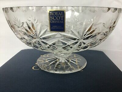 New Royal Scot Lead Hand Cut Crystal 7 Inch Fitted Fruit Bowl  Boxed Kintyre Pat • 22.45£