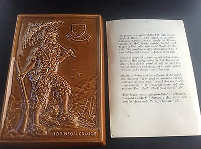 Vintage Hammonds Hull Eastgate Pottery Withernsea Plaque Robinson Crusoe 1973 • 55£