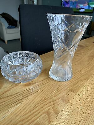 Crystal Glass Vase And Bowl • 3£