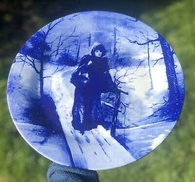 Blue And White Antique Lady In The Woods Forest Scene Plate • 29£