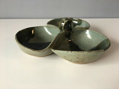 Studio Pottery Serving Dish With 3 Compartments • 8£