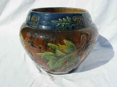 Gorgeous Large Antique Pottery Jardiniere  / Pot Decorated With Leaves & Berries • 39£