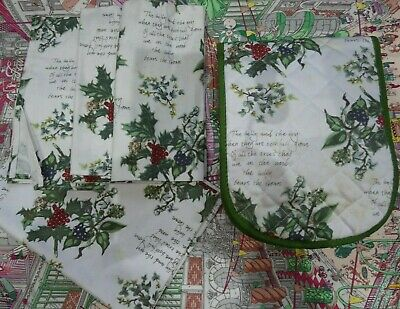 Portmeirion The Holly And The Ivy Christmas Tea Towel / Oven Gloves / 3 Napkins • 10.50£