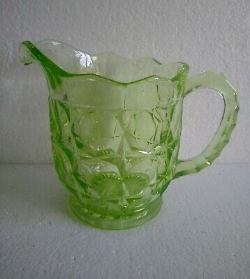 Vintage 1930s Green Pressed Glass Water Lemonade Pitcher Jug 1.5 Pints • 12.99£