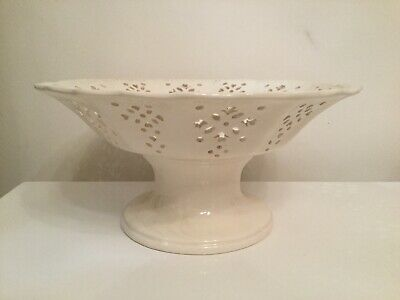 Royal Creamware Fruit Stand Bowl Dish Fine China Est In 1760 Made In England . • 15£