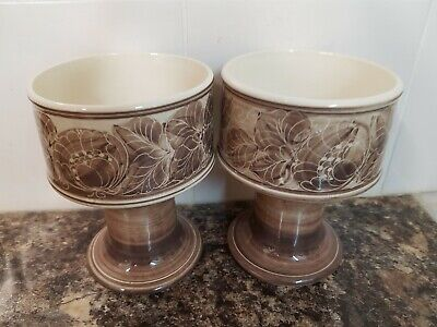 Gorgeous Vintage Jersey Pottery Pair Hand Painted Coffee & Cream Goblet Vases  • 10£