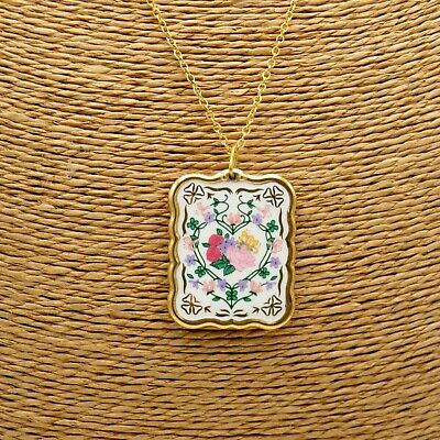 Franklin Mint The Victorian Valentine Pendant 18  22ct GP Fine Porcelain • 21.99£