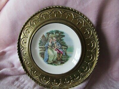 Alfred Meakin Brass And Porcelain Wall Plate • 12£