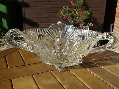 Beautiful Vintage Sowerby Pressed Glass Bowl With Dolphin Handles • 29£