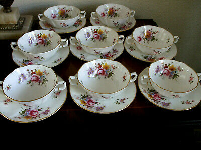 SET OF EIGHT ROYAL CROWN DERBY POSIES SOUP BOWLS COUPES & SAUCERS - Immaculate • 120£