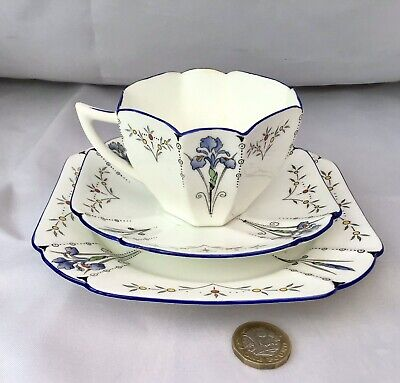 Antique Shelley China Queen Anne Blue Iris Trio - Cup & Saucer & Plate • 40£