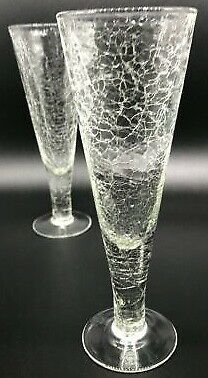 Champagne Flute Crackle Glass Thick Glass Clear Wedding Party 7.5  H Set Of 2 • 19.26£