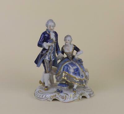 Antique Porcelain German Volkstedt Dresden Figurine Of Young Couple • 11.50£