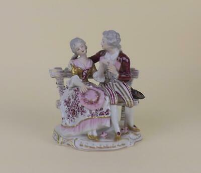 Antique Porcelain German Volkstedt Dresden Figurine Of Young Couple • 16£