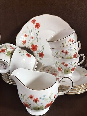Colclough Bone Chine Poppies Tea Set  • 10£