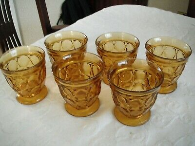 Vintage Amber Glass Water Glasses Set Of 6 Ex Cond • 15£