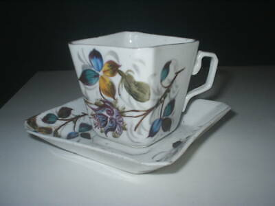 Antique Unusual Square Shaped Pottery CUP & SAUCER With FLORAL Patterns  V Good • 4£
