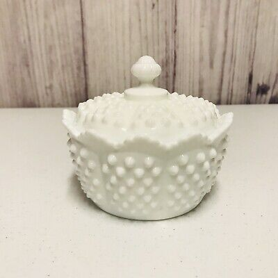 Vintage Fenton White Hobnail Milk Glass Candy Dish With Lid • 10.35£