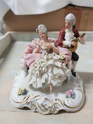Dresden Lace Porcelain Antique Figurine Couple. Lady Serenaded Lute Player Rare • 49.99£