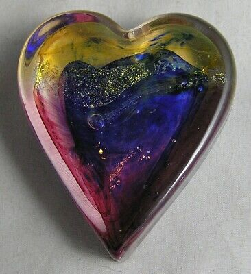 EXC. Robert Held Signed HELD Multi Colored Art Glass Heart Paperweight W/Label • 23.04£