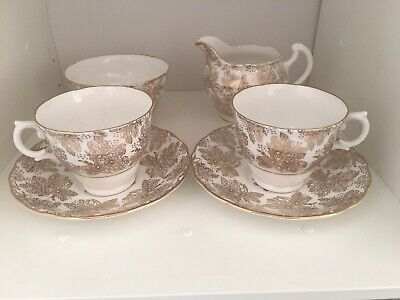 Colclough Vintage Bone China TEA FOR TWO Afternoon Tea Gold & White Chintz • 9.50£