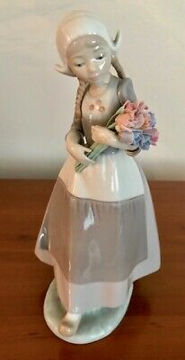 Lladro #5065 Dutch Girl With Tulips Ingrid Figurine Floral Flowers Retired • 29£