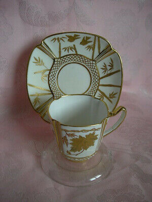 Spode Copelands Cup & Saucer In White/Gilt C1875 + I Cup In Cobalt Blue. • 9.95£